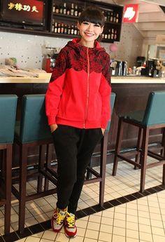 Long Sleeve Hood Lace Print Women Red Cotton Hoodie M/L @FZ60152r