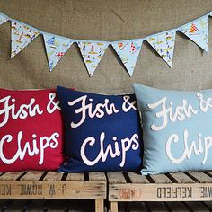 Fish and Chips wool appliqué cushion with blanket stitch. @Amy F Harrison I don't know why but I thought of you when I saw these!!