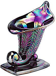 Fenton Feather Amethyst Carnival Glass Cornicopia
