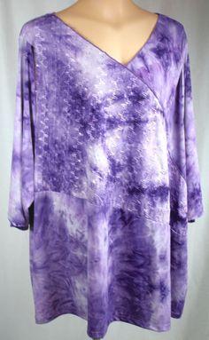 Liz & Me Womens Sequin 3/4 Sleeve V Neck Purple Polyester Blend Knit Top Size 5X #LizMe #KnitTop #Versatile