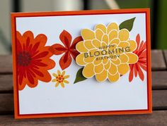 upplies: Stamps: Flower Patch Ink: Tangelo Twist, Pumpkin Pie, Tangerine Tango, Real Red, Daffodil Delight, Old Olive Paper: White, Real Red, Pumpkin Pie