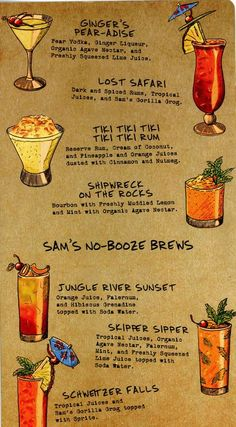 "Trader Sam's Enchanted Tiki Bar finally answers the question we've all been asking ourselves: what would it be like if the Enchanted Tiki Room actually served alcohol? Trader Sam's is named for the ""head"" salesman from the Jungle . Drink Menu, Bar Drinks, Yummy Drinks, Alcoholic Drinks, Beverages, Tiki Party, Luau Party, Aloha Party, Cocktail Menu"
