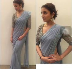 Love the simplicity of saree and glam of blouse