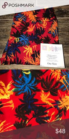 NWT Lularoe 🌴🌴🌴🦄🦄 Primary Palm Trees OS 2-12 NWT. Size OS fits sizes 2-12.  background with a scattering of palm trees in other primary colors and black. I am not a LLR consultant. Any pricing comments will be ignored, but offers are always welcomed. Sorry, no trades! LuLaRoe Pants Leggings
