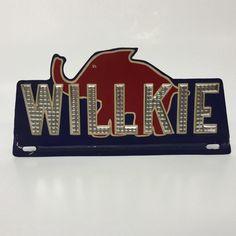 Wendell Willkie Aluminum Metal License Plate Topper 1940 Presidential Election | eBay