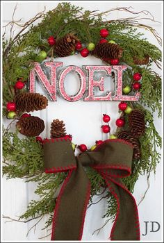 Cedar Decorated Christmas Wreath by JenniferDecorates on Etsy. $45
