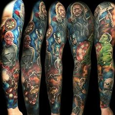 avengers sleeve tattoo - Google Search