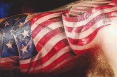 American Flag Arms Tattoo for thigh