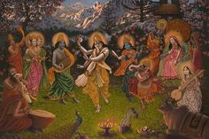 This is the Adi Shakti (primordial Goddess) holding court in the vaikuntha version of the Himalayas, we see mount Kailash at the top of the picture. Various deities are paying homage to the Goddess. Ganesha Painting, Tanjore Painting, Kali Ma, Nataraja, Blue Balloons, Shiva Shakti, Shree Krishna, Hindu Deities, Hindu Art