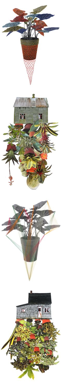 Hagar Van Heummen's combination of collage and threads is a fascinating juxtapose of mixed media