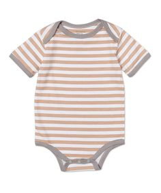 7b082c7f1 Kimki Organics by Sage Creek Organics Gray & Tan Stripe Organic Bodysuit