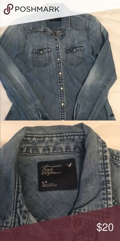 AE denim button down Perfect condition, love this top just no longer fits! American Eagle Outfitters Tops Button Down Shirts
