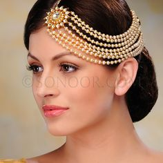 ACR/1/3317 Half Matha Patti in dull gold finish studded with kundan and pearls	 $188 £111