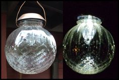 Hanging lamp globe with solar light set in the top.