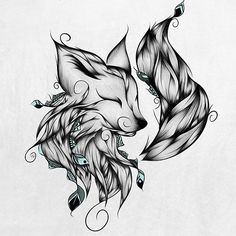 Fox B&W LouJah - This one too Fox Tattoos, Sleeve Tattoos, Body Art Tattoos, Tatoos, Dessin Tattoo, Tattoo Drawings, Tatoo Art, Cool Drawings, Hippy Tattoo