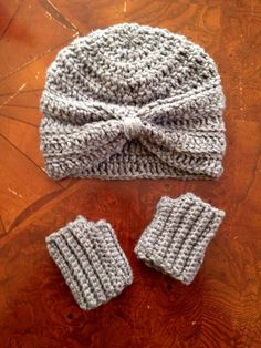 Turban style baby hat and fingerless gloves! Cutest ever! Etsy.com