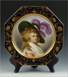 Antique ~ Royal Vienna ~ Dresden Porcelain Portrait Plate ~ Of Georgiana Spencer ~ The Dutchess of Devonshire  ~ It has an octagon border decorated with gold gilt floral designs on a cobalt blue background ~ It is artist signed by the master artist Wagner ~ Circa late 19th century ti early 20th century | eBay