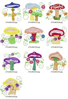 Mushrooms-in-the-Woods-JMC Embroidery Designs