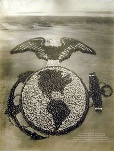 Seriously impressive!!! Living emblem of the US Marines. Massive WWI Human Sculptures commissioned by the US Government during WWI to raise morale #photography #america #liberty