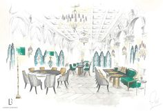 Lambart and Browne Interior Design - Watercolour by our Creative Director, Freddy van Zevenbergen for a project • Games Room • Drawing Room • Watercolour •  Modern • Contemporary • L&B