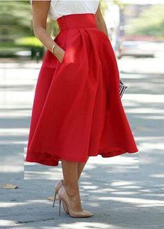 Red long skirt