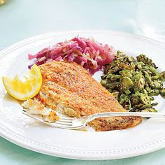Sizzling Flounder. Parmesan and paprika provide a flavorful breading for flounder.