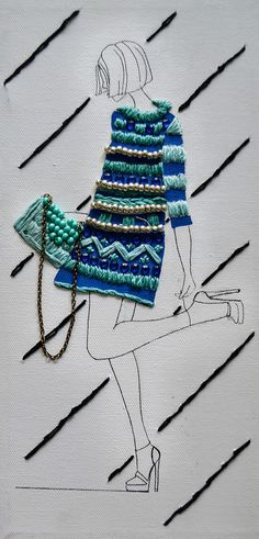 Embroidered Fashion Illustrations on Canvas on Behance