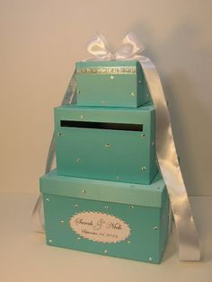 Tiffany Blue Wedding Card Box Gift Card Box Money by bwithustudio
