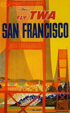San Francisco ~ TWA Airlines vintage travel poster with Golden Gate Bridge