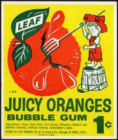 Vintage Juicy Oranges Leaf Gum Ball Machine Vending Display Card NOS New Vintage Candy, Vintage Type, Bubble Gum Machine, Grace And Co, Old Candy, Penny Candy, Orange Leaf, Gumball Machine, Vintage