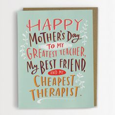Cheapest Therapist Mother's Day Card, Funny Mother's Day Card