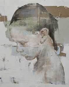 Artist: Massimo Lagrotteria, oil on paper and canvas, 2012 {figurative art female child head girl face profile portrait smudged texture grunge cropped painting #loveart} massimolagrotteria.com