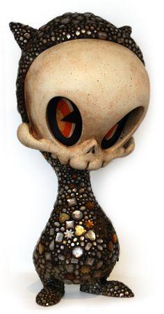 "Kathie Olivas x Brandt Peters TITLE: Jeweled Mega Skelve SIZE: Height 25"" MEDIUM: Acrylic, Rhinestones, Brass Stampings, on Resin PRICE: $2200"