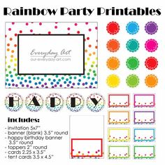 Free Rainbow Party Printables - Banners, Cards, and Cake Toppers