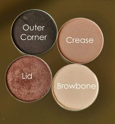 MAC eyeshadow look. Paintpot in Soft Ochre as a base. Outer Corner Smut. Crease Malt. Lid Sable. Browbone Mylar