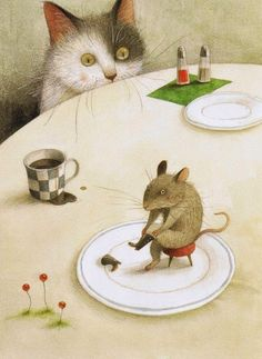 Ayano Imai cat mouse illustration