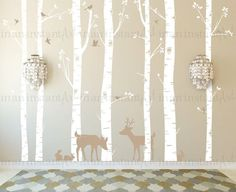 baby hutan Birch Tree Wall Decal, Birch Trees, Birch Trees Vinyl, Birch Forest with Deer and Bunnies for Birch Nursery, Kids or Childrens Room 011