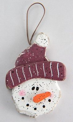 LOVE this wooden snowman ornament