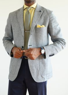 Men's Fashion | Menswear | Men's Outfit for Spring/Summer | Gray Sport Coat, Yellow Shirt, Striped Tie, and Navy Pants/Trousers | Moda Masculina | Shop at designerclothingfans.com