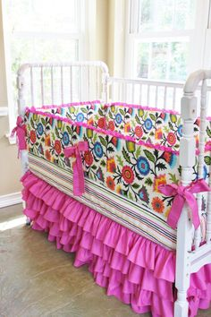 Fuchsia Custom Crib Bedding - Blossoming Vines And Fuchsia Waterfall Ruffles