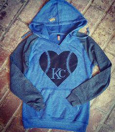 Blue/Grey Baseball Heart Sweatshirt