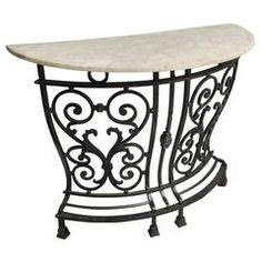 Console Table – C Marble Curved English Wrought Iron, Carrara Marble - Modern Wrought Iron Console Table, Hall Console Table, Wrought Iron Decor, Wrought Iron Fences, Modern Console Tables, Iron Table, White House Interior, Pedestal, Stairway Decorating