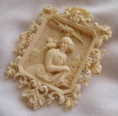 """Ivory carved cameo brooch Size: 3"""" by 2 3/8"""" Date and Origin: Circa 1840/1850 Dieppe France."""