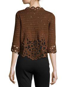 Laser-Cut Silk Jacket, Cocoa Brown