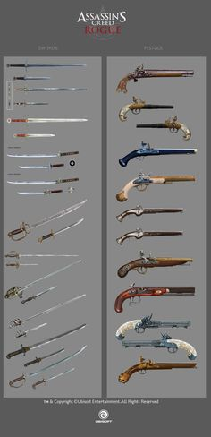 Assassin's Creed Rogue weapons by drazebot swords pistols concept art equipment gear magic item   Create your own roleplaying game material w/ RPG Bard: www.rpgbard.com   Writing inspiration for Dungeons and Dragons DND D&D Pathfinder PFRPG Warhammer 40k Star Wars Shadowrun Call of Cthulhu Lord of the Rings LoTR + d20 fantasy science fiction scifi horror design   Not Trusty Sword art: click artwork for source