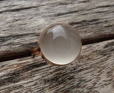 White moonstone  open bezel ring 14 karat pink gold on Etsy, £392.49