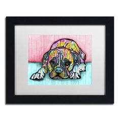 """Trademark Art 'Lying Boxer' by Dean Russo Framed Graphic Art Size: 11"""" H x 14"""" W x 0.5"""" D, Matte Color: White"""