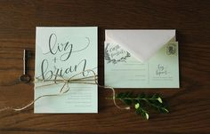 "mint green hand-lettered ""Liz"" invitation suite from Allie Ruth Design"