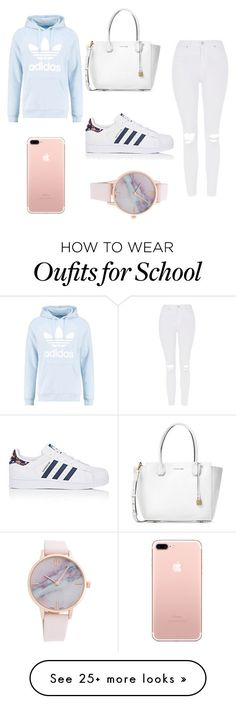 school outfit by ashlehhfhbffg on Polyvore featuring Michael Kors, Topshop, adidas Originals and adidas