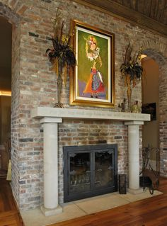 Double Sided Wood Burning Fireplace in Kitchen and Living Room Princeton Hills Brentwood, TN Bernie Bloemer Custom Homes Home Builders, Wood Burning, Custom Homes, Living Room, Kitchen, Home Decor, Cooking, Decoration Home, Woodburning
